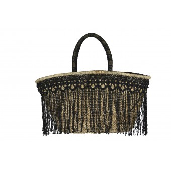 Alex Max Funky Fringe Black Beach Bag