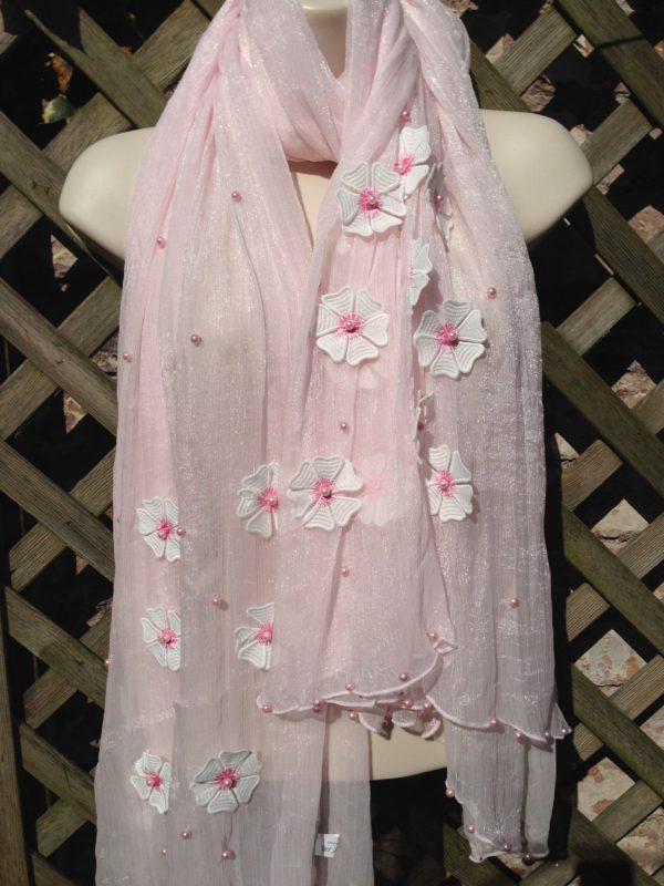 Light Pink Daisy Scarf Wrap