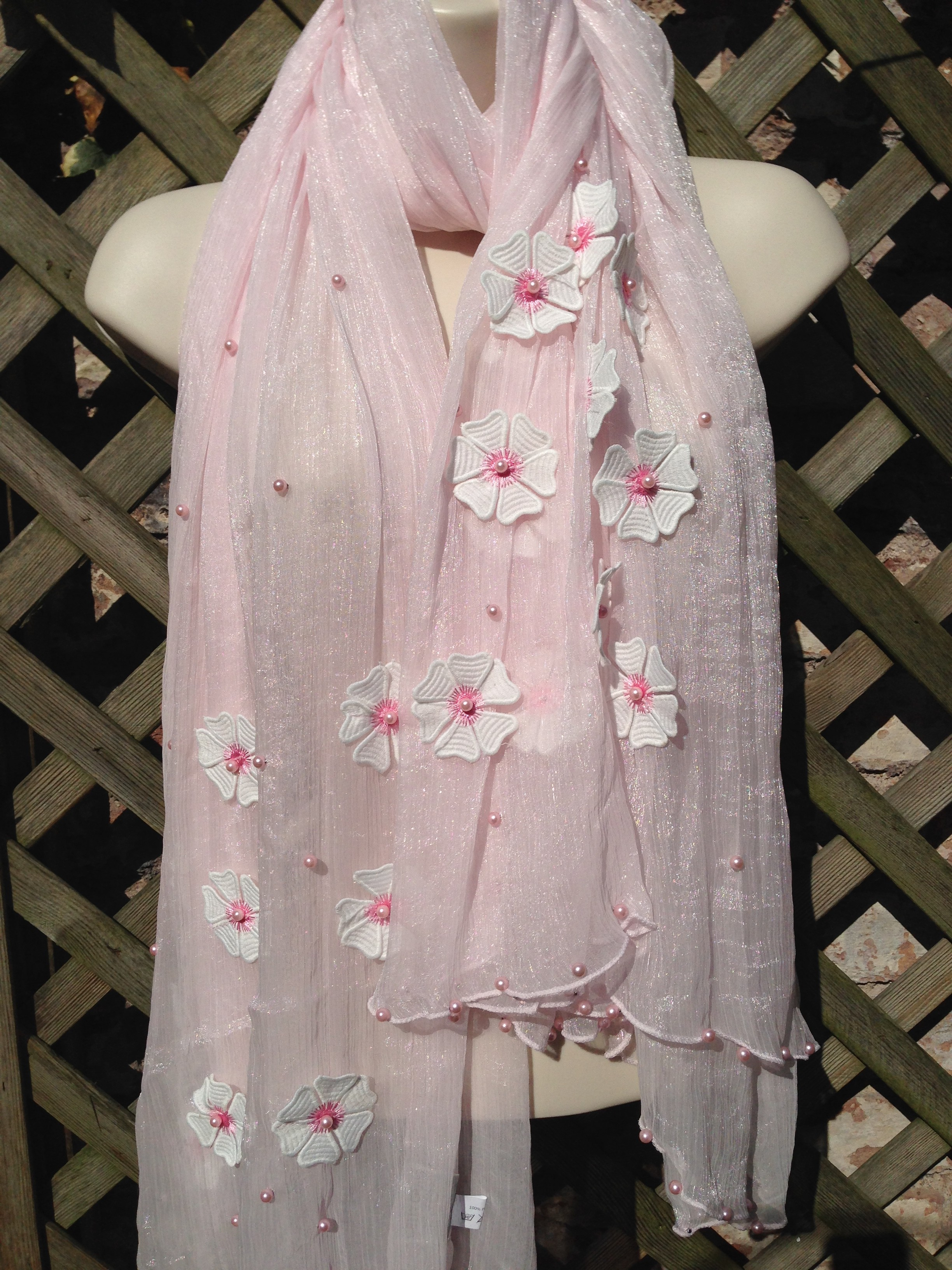 Light Pink Daisy Scarf Wrap