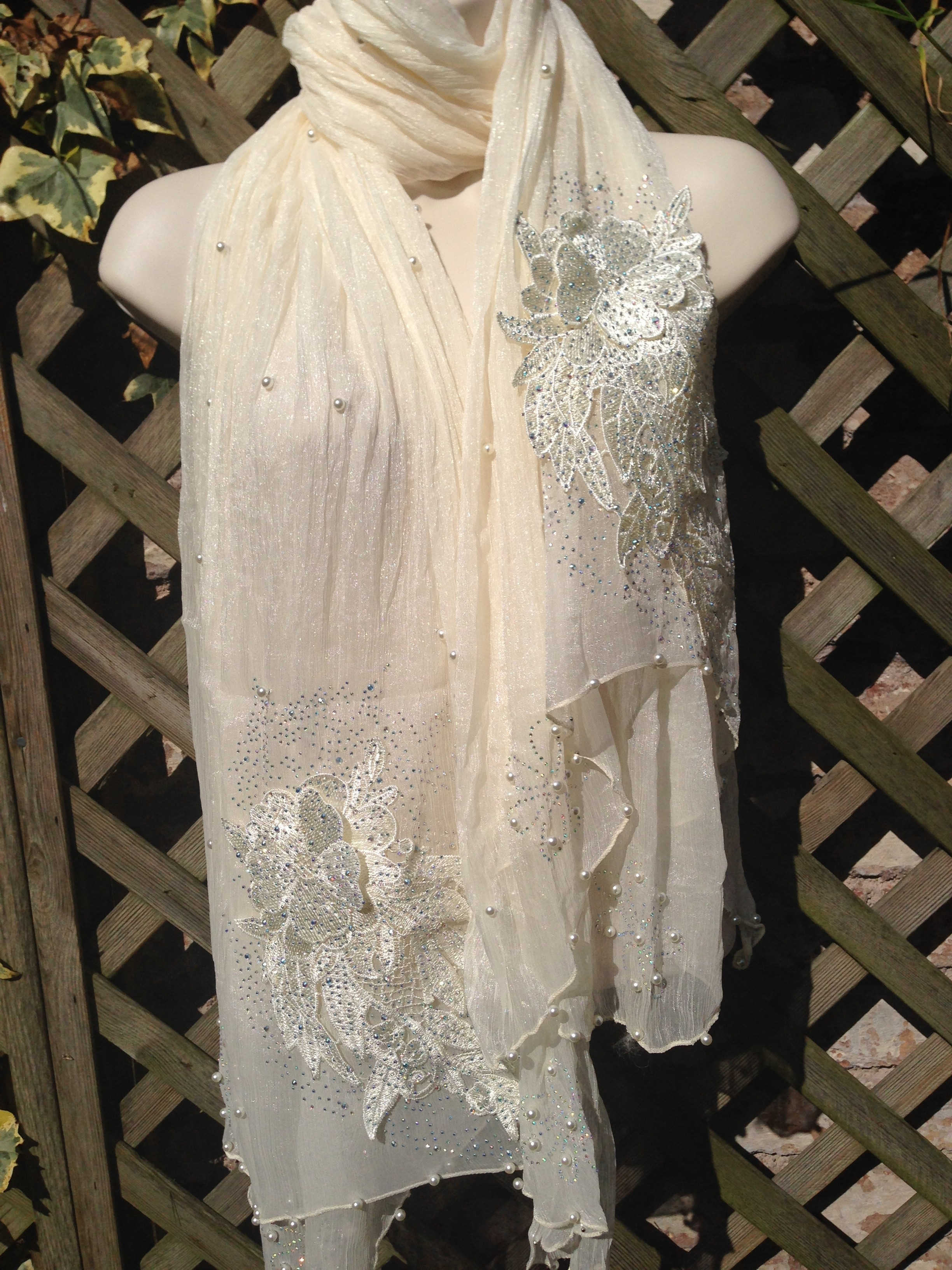 Ivory Crystal Beaded Scarf