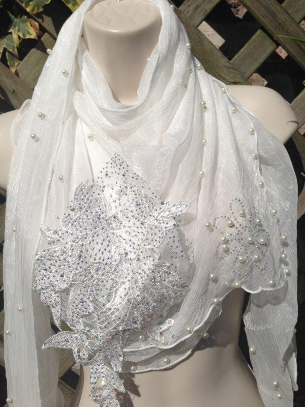 White Crystal Neckerchief Scarf