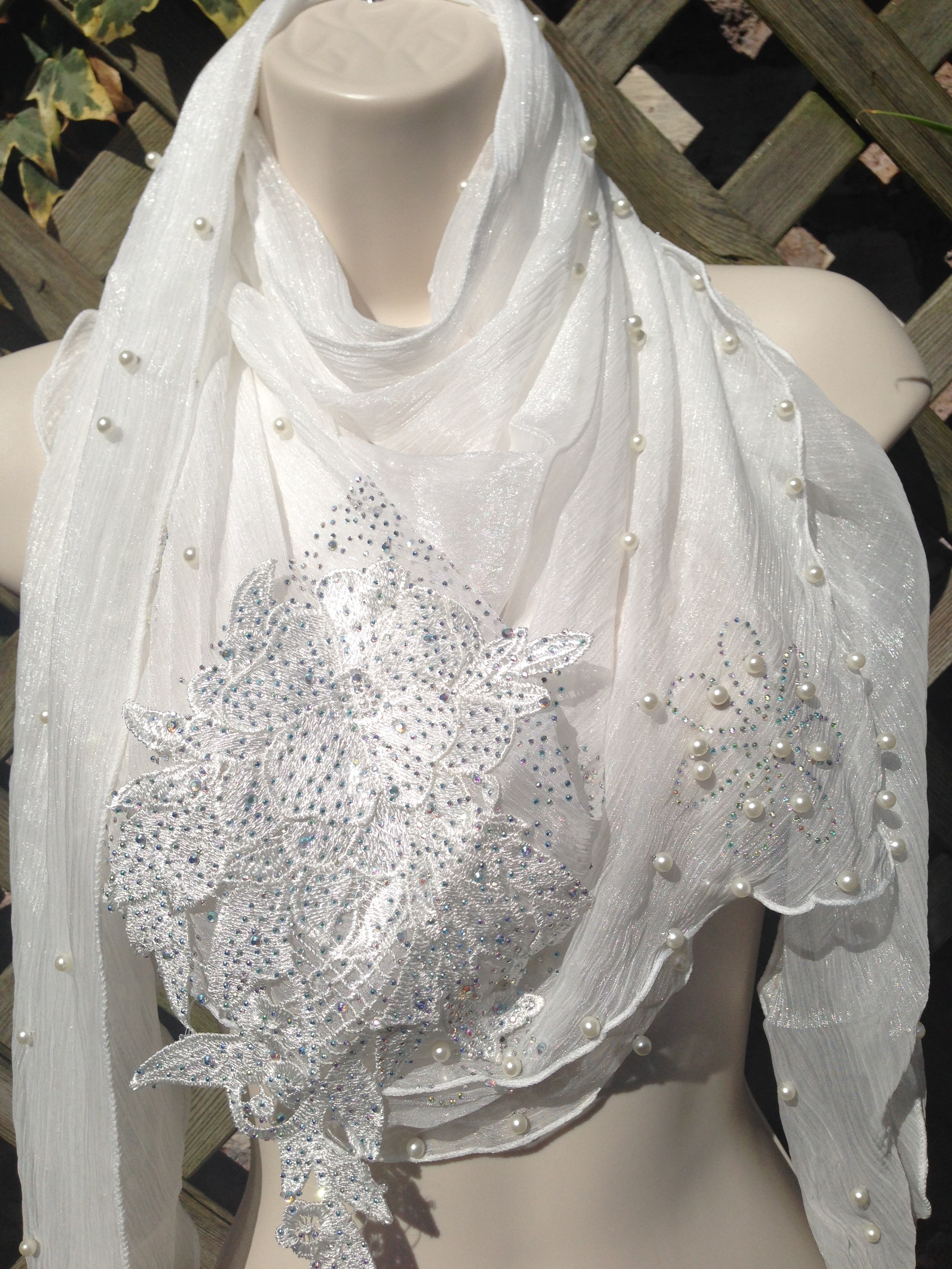 White Crystal Neckerchief Scarf