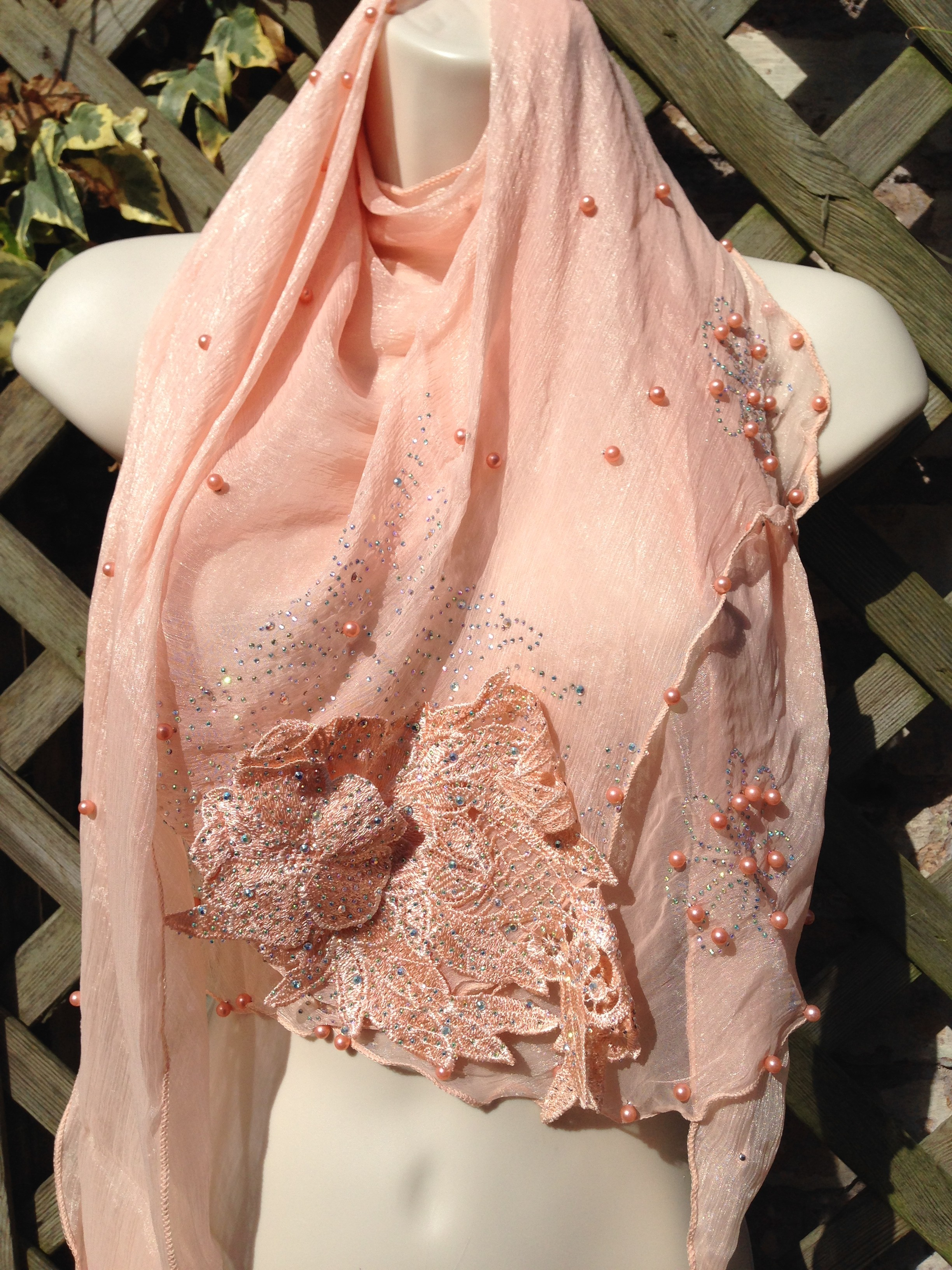 Peach Crystal Neckerchief Scarf