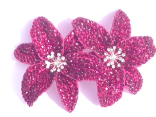 Cerise pink double flower hair clip