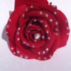 crystal red rose hair clip